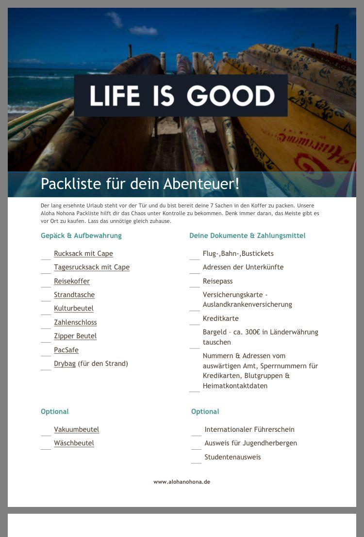 Pin Von Annika Auf Australien Liste Packliste Packen