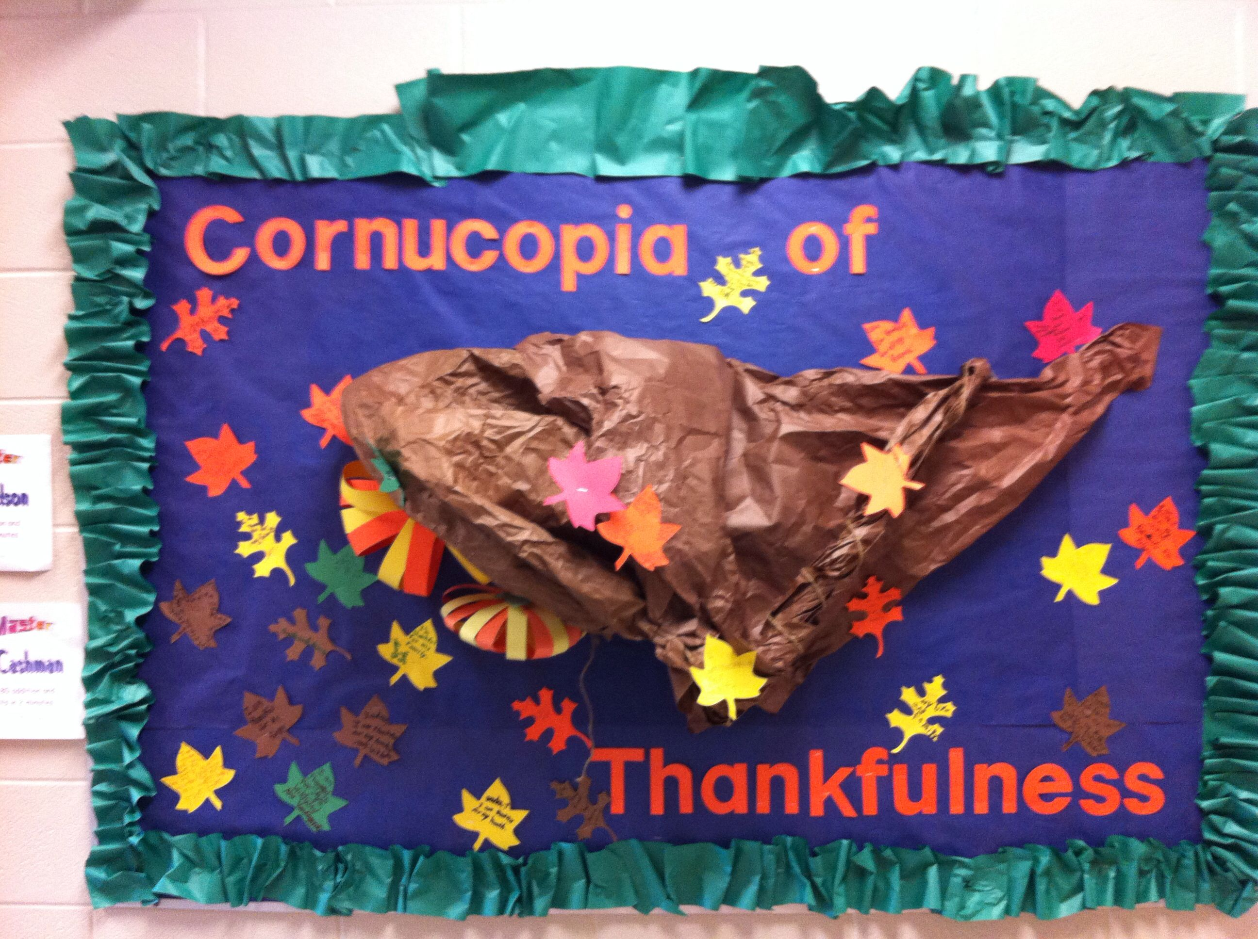 Thanksgiving bulletin board Build cornucopia with crumpled paper
