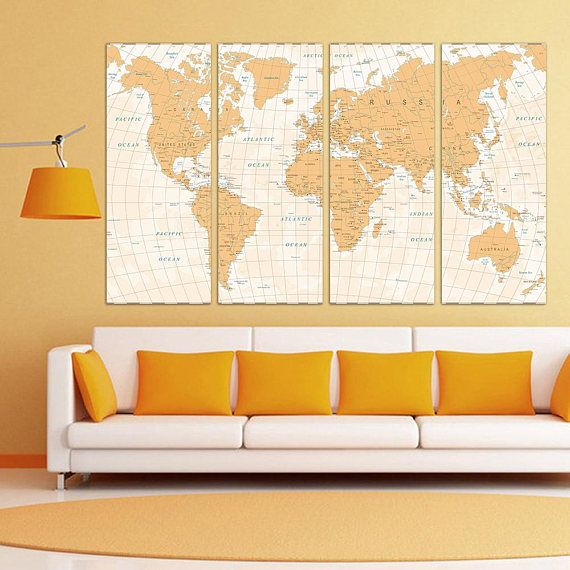 World Map with Countries Extra Large Wall Art #art #painting ...