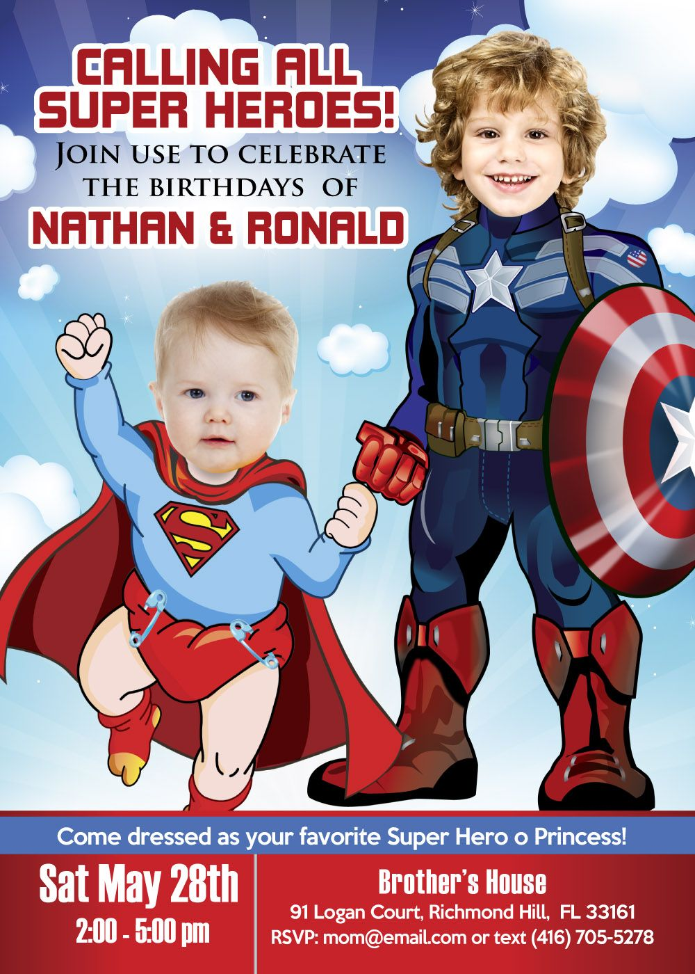 Captain America and Super Baby Siblings Invitation. Superheroes ...