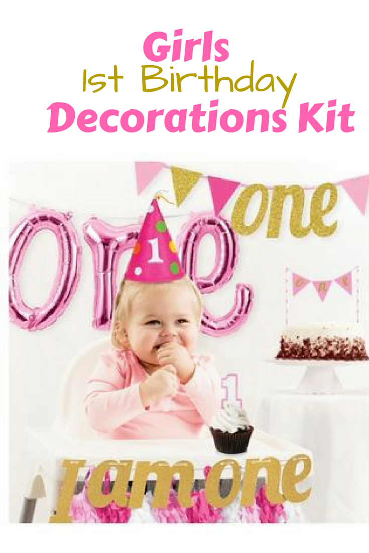 Girls First Birthday Party Decorations Kit Is Adorable And Includes Pennant Banner Hat Balloon Candle Ad Kidsbirthday