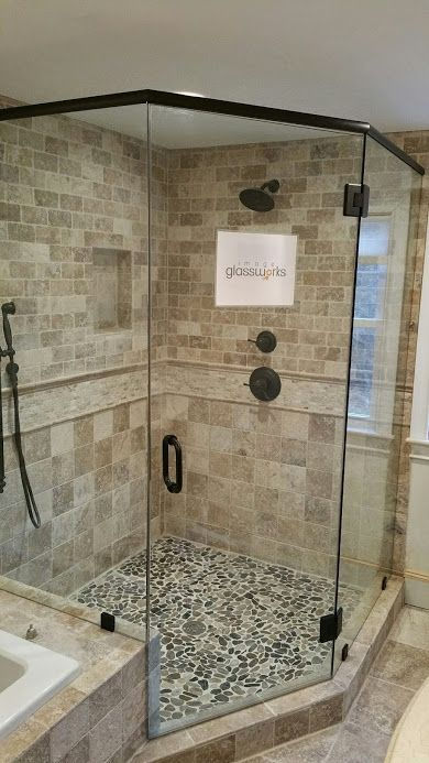 Frameless Shower Door With Inline Panel Antique 3 8 Tempered