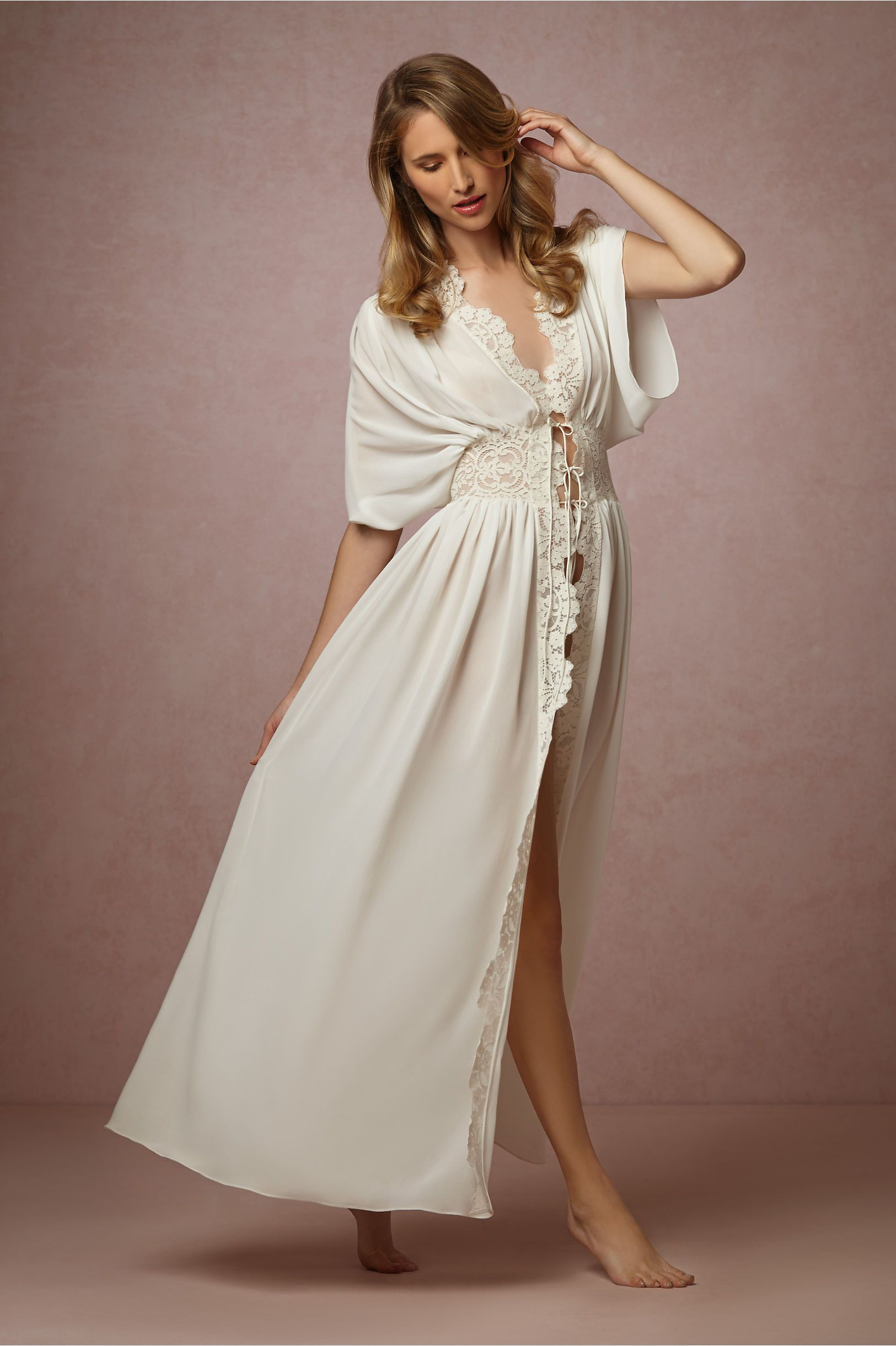 Undergarments for lace wedding dress  Lila Lace Robe in Lingerie Chemises u Robes at BHLDNHoneymoon