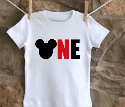 Minnie Mickey Mouse One 1 Year Old 1st 2nd Two By GiftTrend Perfect For Birthday Outfit Shirt With Their Tutus Or Gift Idea Girls And Boys