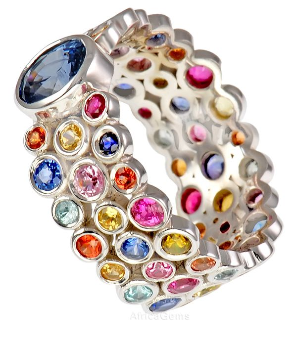 Designer Bezel Style Multi Colored Sapphires Gemstone Ring