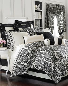 black & white damask bedroom set! LOVE this print! | Damask