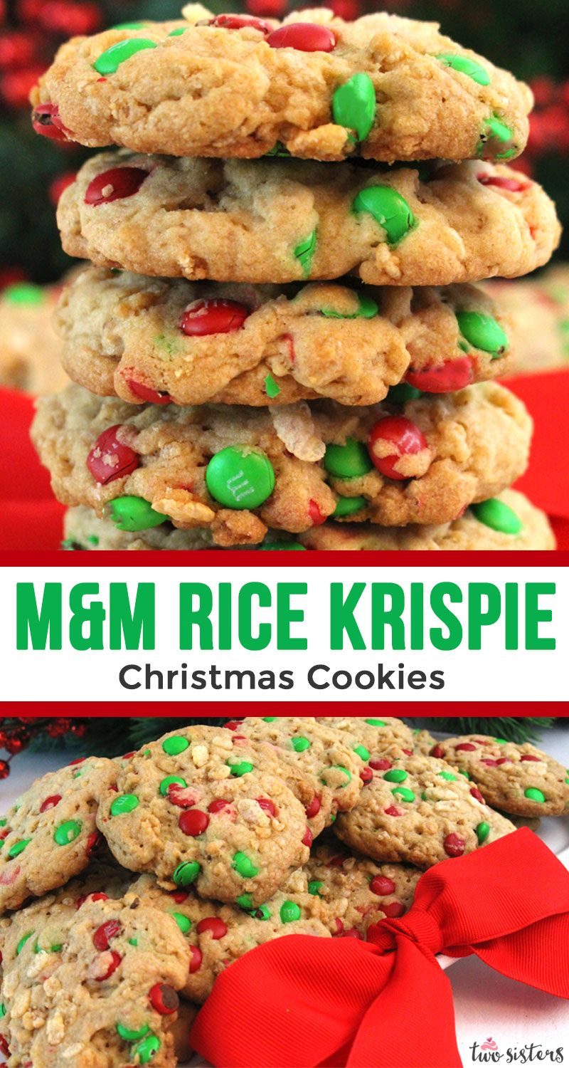 M&M Rice Krispie Christmas Cookies - Two Sisters