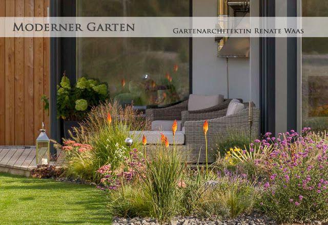 Moderne Gartengestaltung Mit Lounge Blumenbeete Mit Grasern