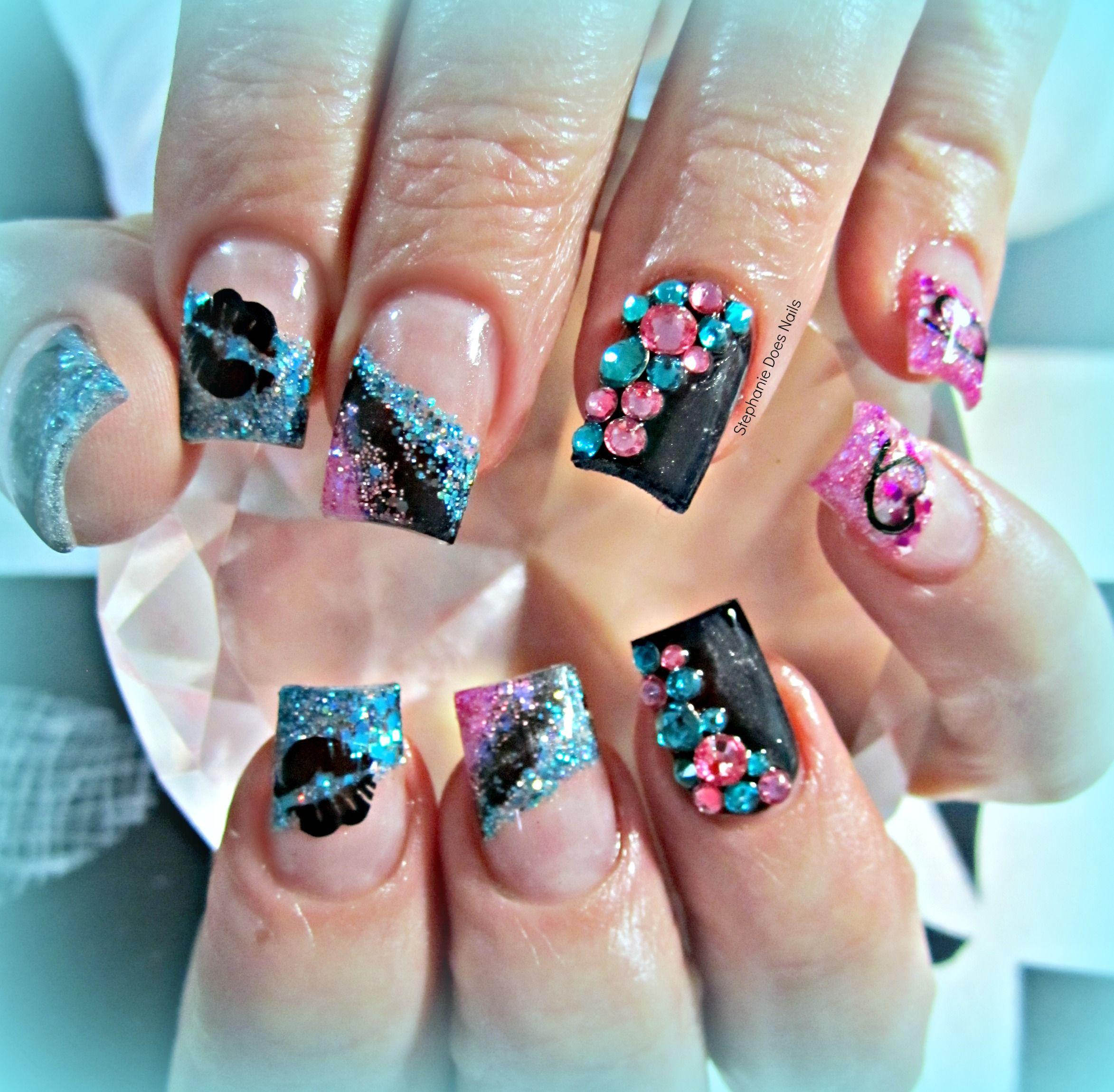 Pink blue and black acrylic nails | Nails | Pinterest | Black ...