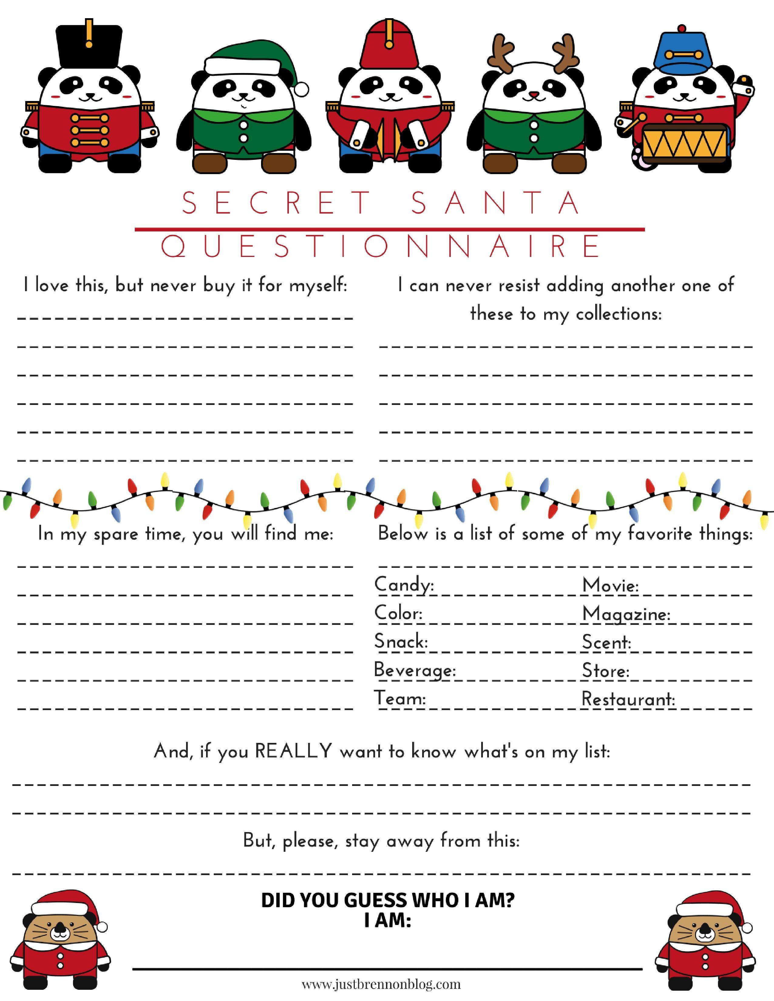 Free Download Secret Santa Questionnaire