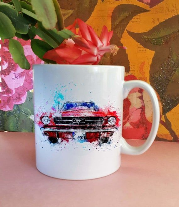 Red Classic Car Ceramic Mug, Beautiful Classic Car Watercolour design, The perfect gift for a car enthusiast or gift for Dad or Granddad