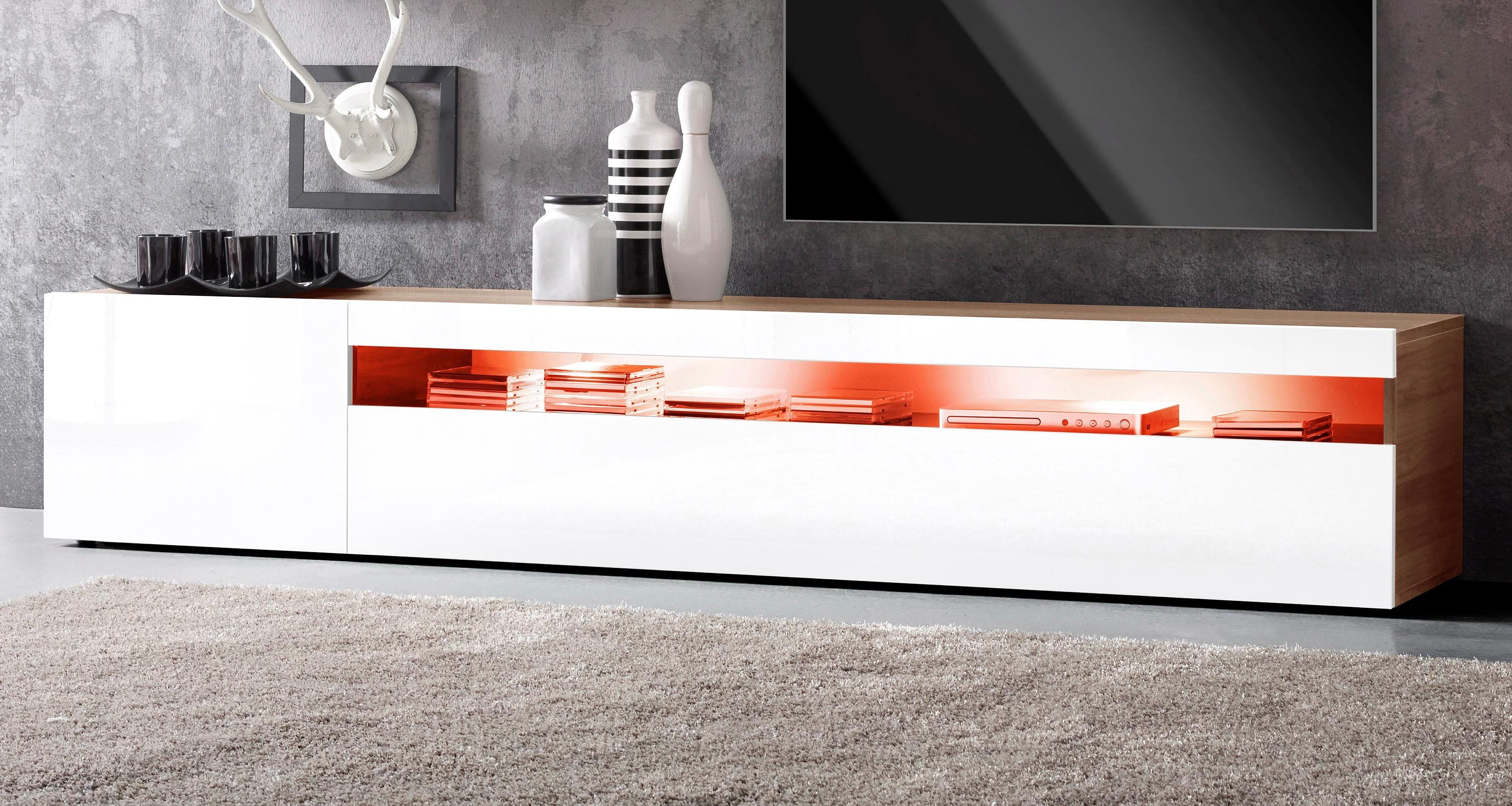 Wohnzimmer Hochglanz ~ Tecnos xxl lowboard braun hochglanz fronten fsc® zertifiziert