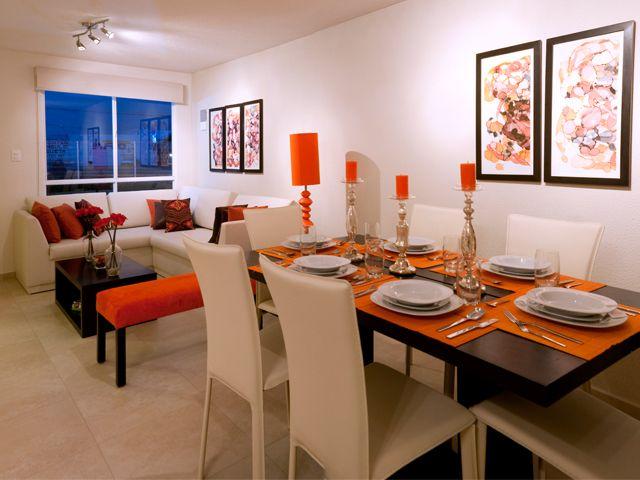 Decoraci n de sala comedor peque a en color naranja for Decoracion naranja