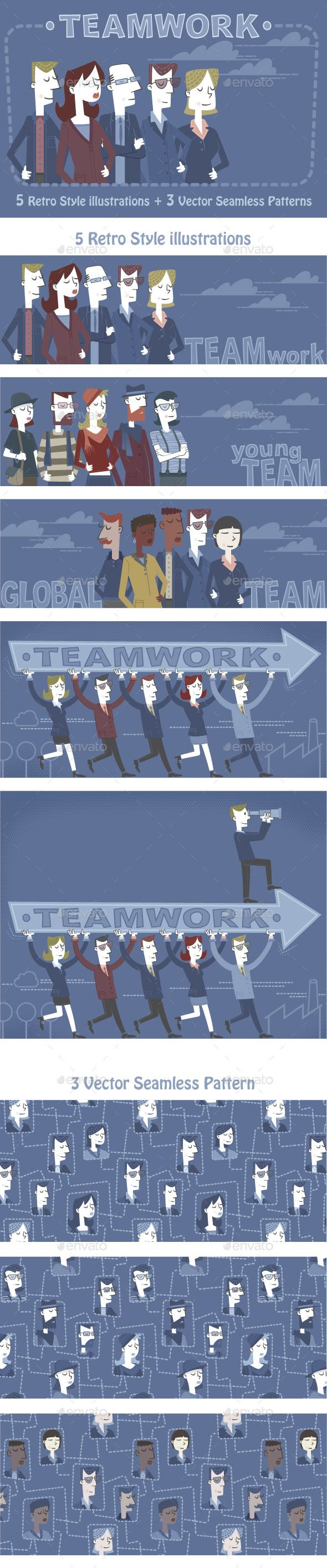 Teamwork Retro illustration, Teamwork, Seamless patterns