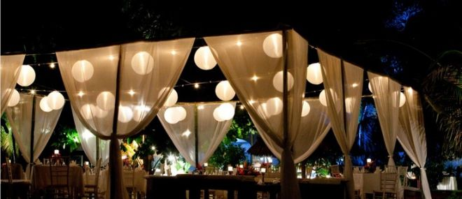 Wedding decoration ideas night outdoor wedding reception wedding decoration ideas night outdoor wedding reception decorations with hanging curtains and small chinse lanterns junglespirit Images