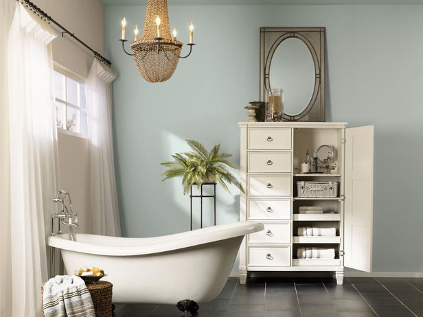 Escape The Room Bathroom sherwin-williams escape gray paint. saw on cabinets in model home