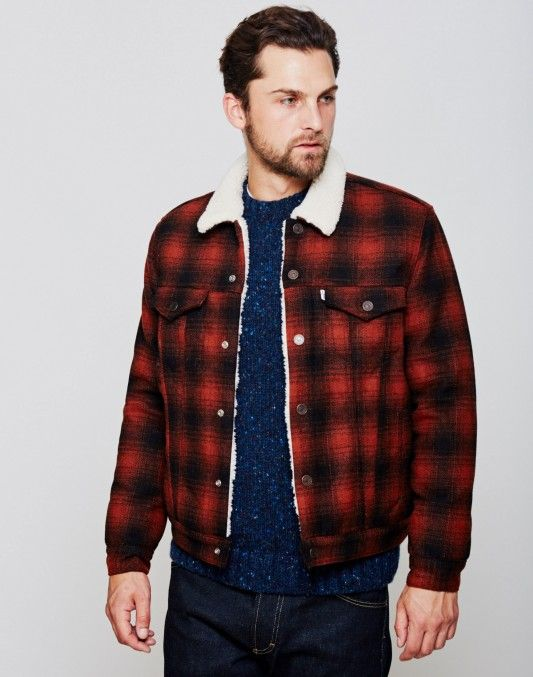 790799bcf93f Levi s Type 3 Sherpa Trucker Jacket Red Plaid - BLACK FRIDAY SALES CONTINUE!