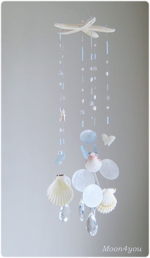 Starfish Beach Decor /Beachy wall Art/Beach mobile/Sea Glass Wall Hanging/Seastars Decor/Crystal Suncatcher/Capiz shell mobile/Summer mobile on Etsy, $64.11