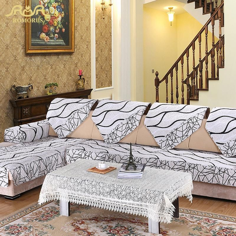 ROMORUS 1 pc Europe Striped Quilted Sofa Cover Armrest Slipcover