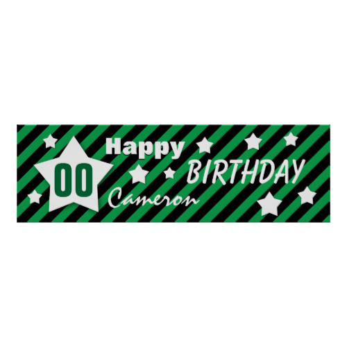 ANY YEAR Birthday Star Banner GREEN STRIPES STARS Posters.  Birthday banners you can online personalize.   See more customizable birthday items at www.zazzle.com/jaclinart*/  #birthday #banners #decorations #invitations #jaclinart #party