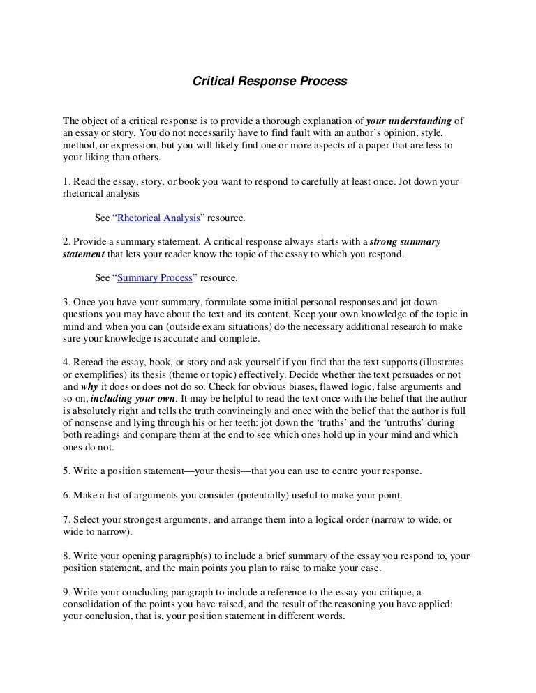 Image result for writing a response Critical Response Essay