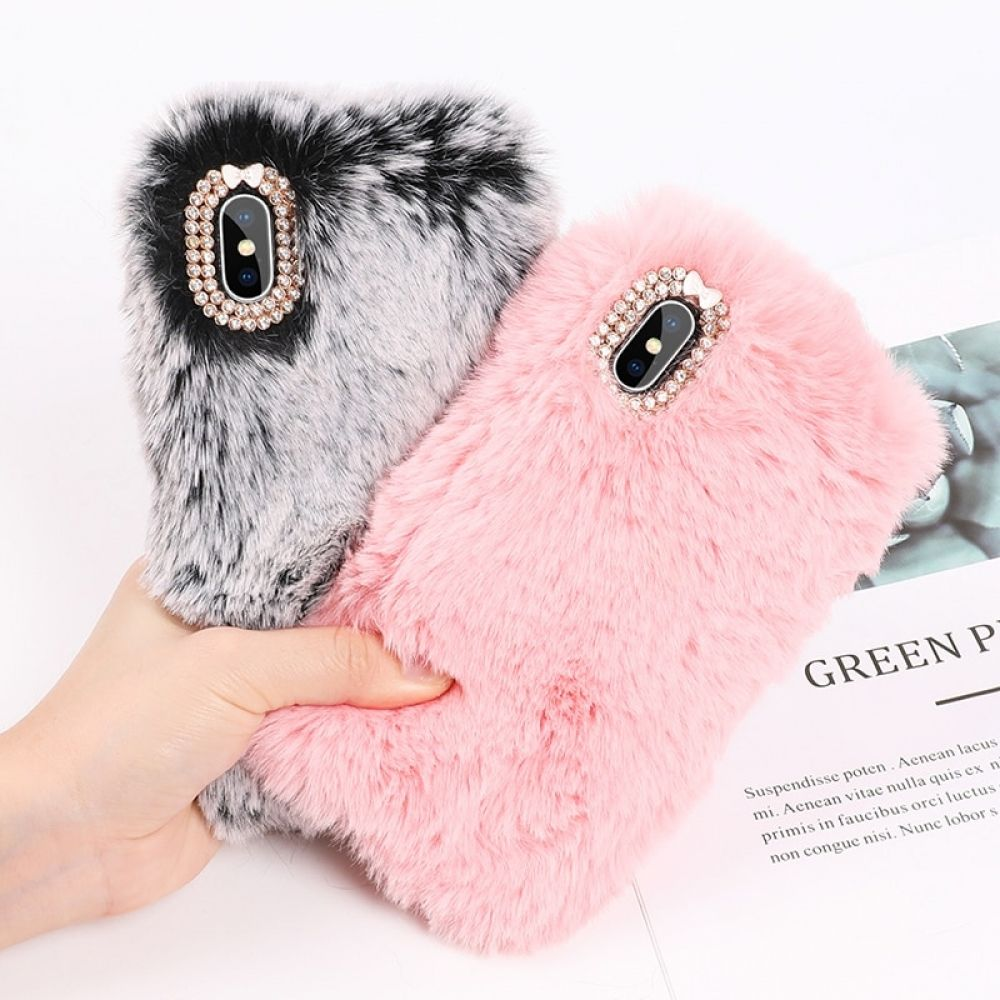 87efecbecb Artificil Fur Case with Rhinestones for iPhone in 2019 | Phone ...