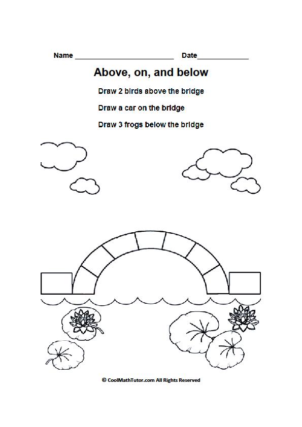 Above, On and Below Printable Worksheet | Bella | Kindergarten ...