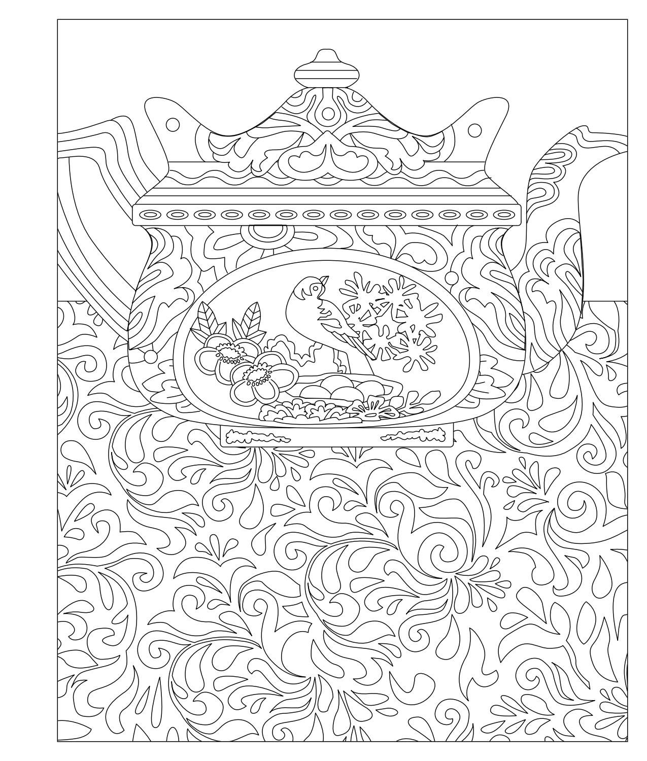 Elegant Tea Party Coloring Book | Чайная | Pinterest | Coloring ...