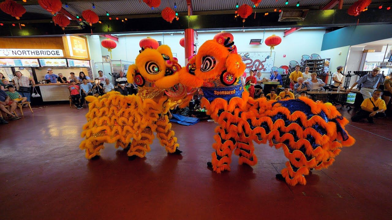 Lion Dance Chinese New Year Celebration Old Shanghai CNY