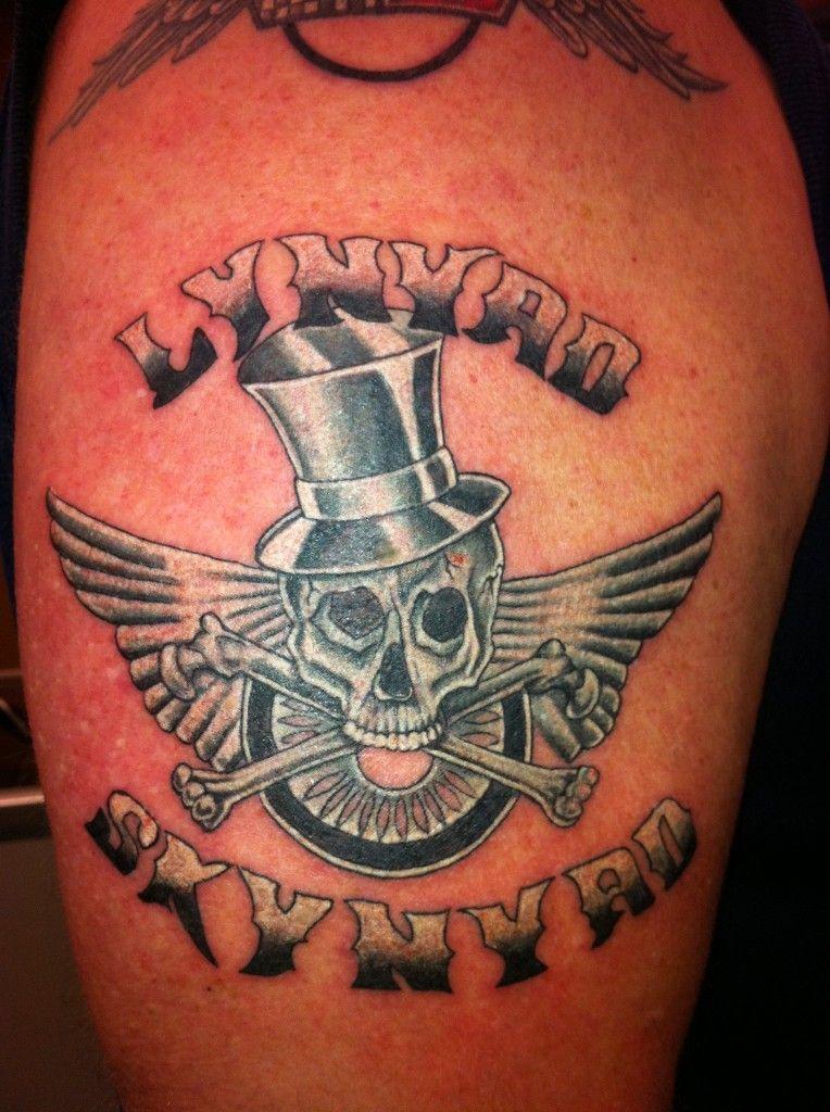 lynyrd skynyrd skull in tophat logo tattoo by alecia tattoos lynyrdskynyrd tattoos. Black Bedroom Furniture Sets. Home Design Ideas