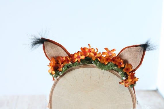 Copper  - newborn toddler fox ear flower crown headband halo prop halloween costume #crownheadband
