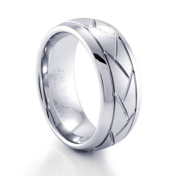 Mens Criss Cross Cobalt Wedding Band by JRYATES on Etsy