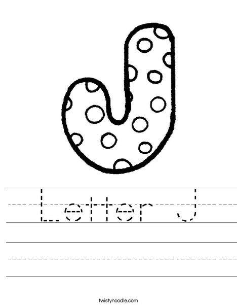 Letter J Worksheet Twisty Noodle Language Arts Pinterest