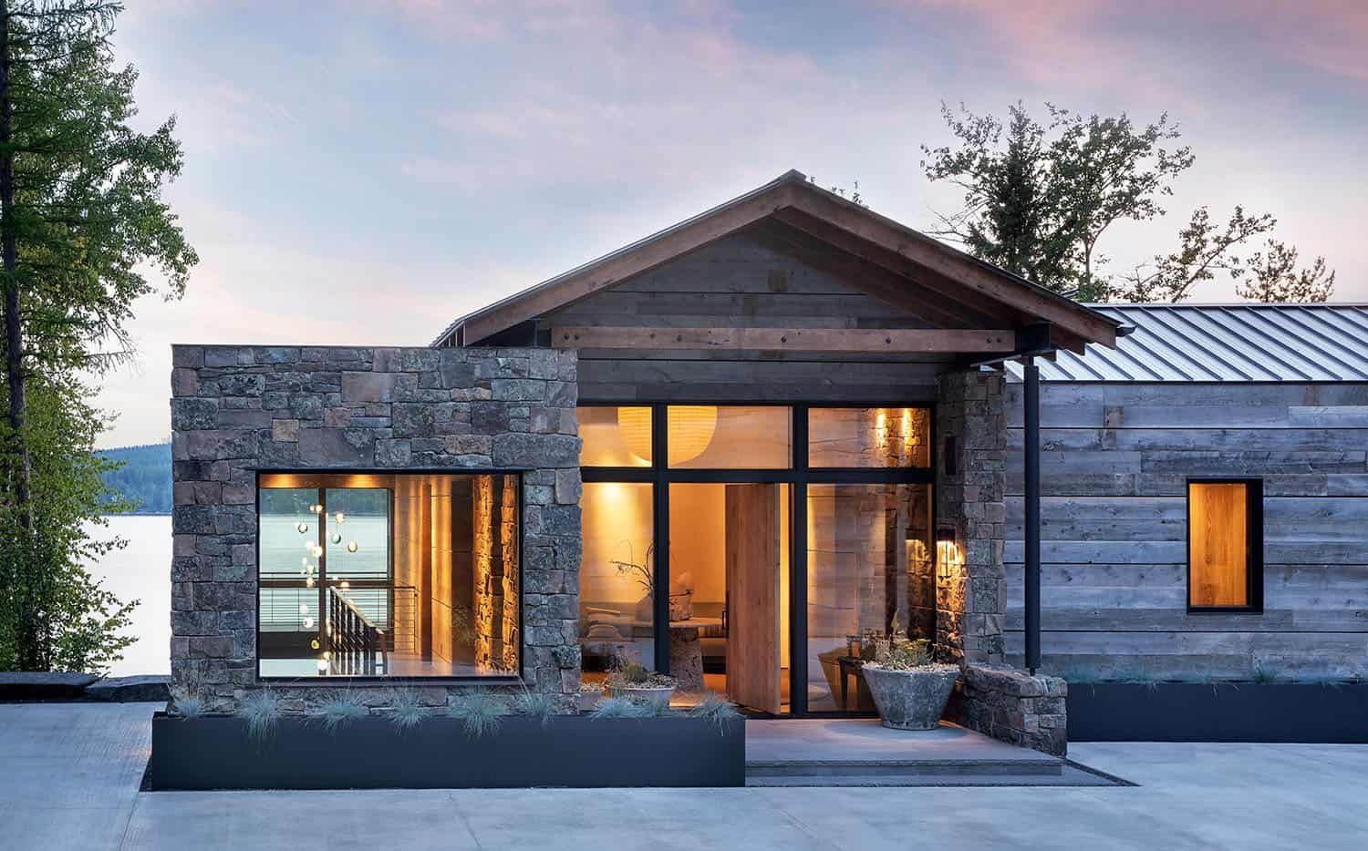 This Mountain Modern Lakefront Home In Montana Is All About Zen Mountain Home Exterior Modern Lake House Lakefront Homes
