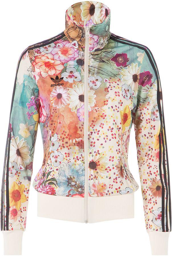 378a64b2d82 Adidas Originals Floral Print Zip Front Jacket