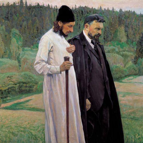 Pavel Florensky and Srrgey Bulgakov by Mikhail Nesterov