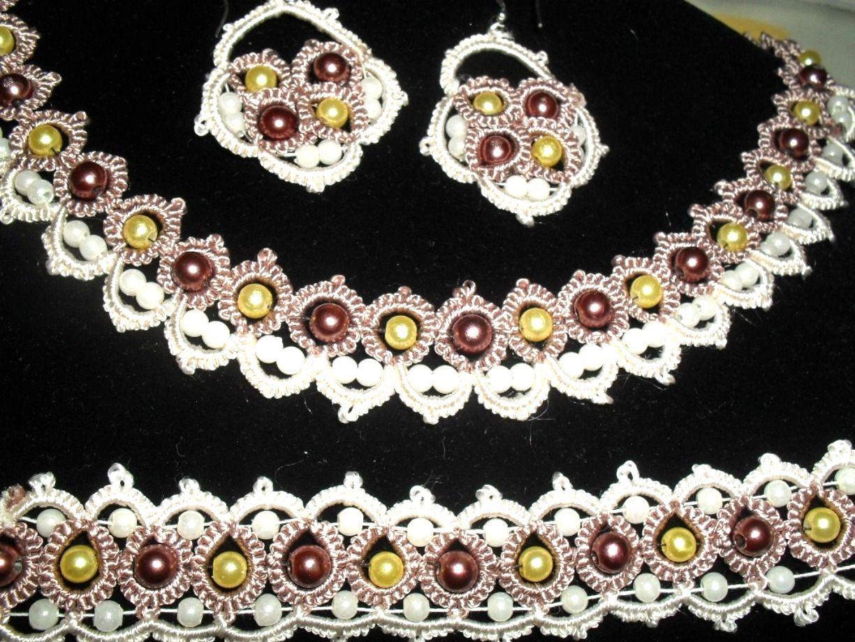 Parure : collier,bracelet, boucles d'oreille en dentelle frrivolite : Parure par bijoux-frivolite