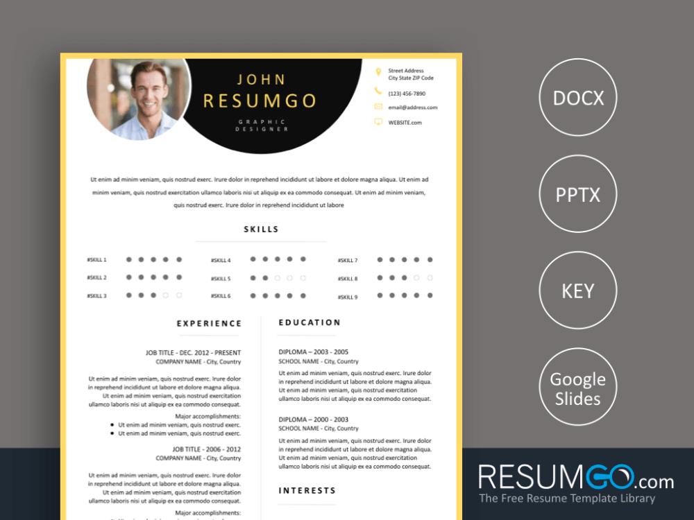 Paraskeve Yellow Border Resume Template Resumgo Com Resume Template Resume Creative Resume Templates