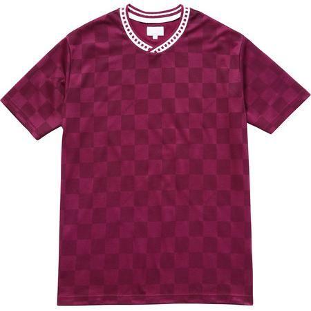 Supreme Checker Soccer Jersey in Burgundy as seen on Justin Bieber