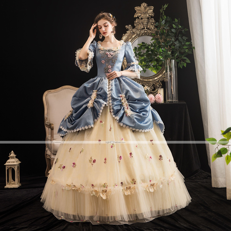 Maria Antonietta Rococo Baroque Victorian Vacation Dress Dress Party Costume Masquerade Prom Dress Women S Tulle Satin Costume Lightblue Vintage Cosplay Party H Victorian Dress Costume Old Fashion Dresses Victorian Ball Gowns [ 3000 x 3000 Pixel ]