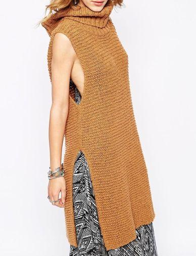 Europe High Split Oversize Turtleneck Sleeveless Sweater - Women's Sweaters with Cheap Wholesale Price - CLOTHING.NET #sweaters #WomenSweaters #CheapSweaters
