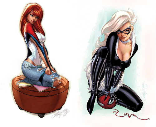 Mary Jane and Black Cat - J. Scott Campbell   Mary Jane vs ...