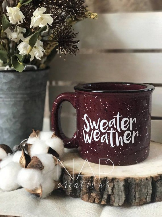 Sweater Weather || Let's Cuddle || Campfire Coffee Mug || Fall Coffee Mug || Coffee Lover Gifts || Winter Coffee Cup || 15 ounces