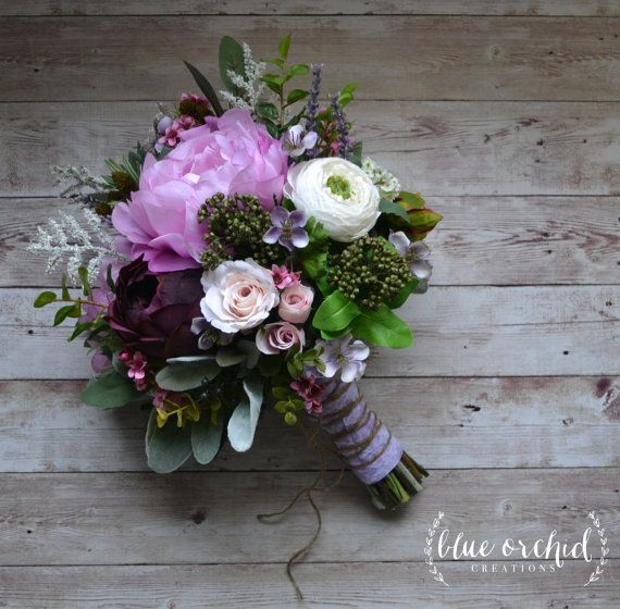 Boho Wedding Bouquet  Purple, Lavender, Peonies, Ranunculus, Statice, Berries, Bouquet with Accents, Wildflower Bouquet, Boho Wedding is part of Boho wedding bouquet - This boho wedding bouquet is a gorgeous, silk, wildflower bouquet full of lavender, purple, pink and cream wildflowers, peonies, ranunculus, greenery, statice and accents  Absolutely perfect for a rustic or boho wedding  This is the extra large bridal bouquet  Shown wrapped in lavender satin with a