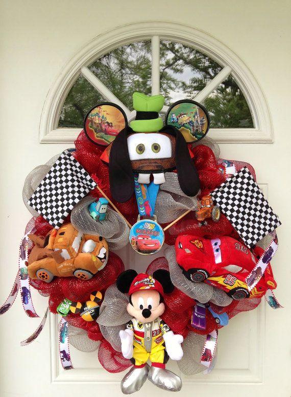 Cars themed wreath disney cars wreath by - Decoracion navidena infantil ...