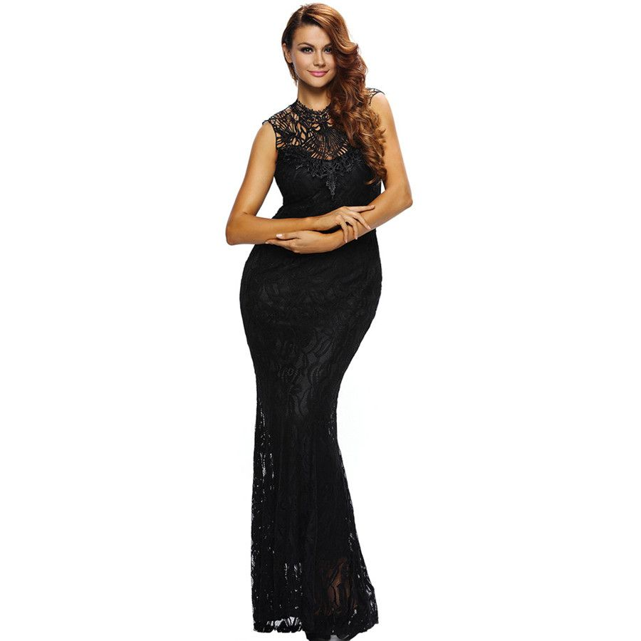 Sexy oneck black lace halter sheath women party dress patchwork