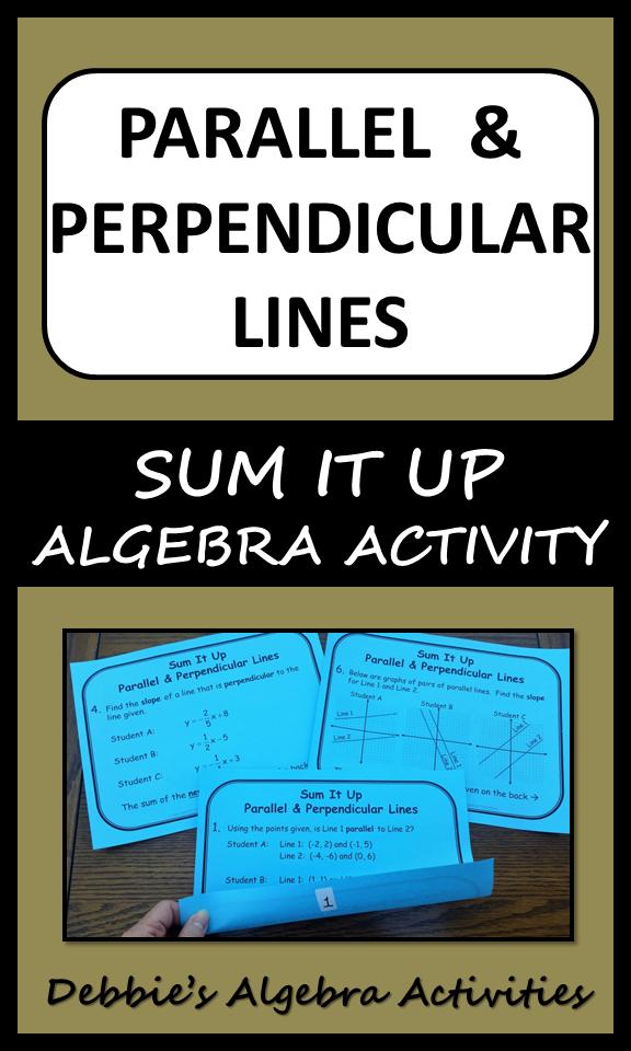 Parallel & Perpendicular Lines Sum It Up Activity | Pinterest ...