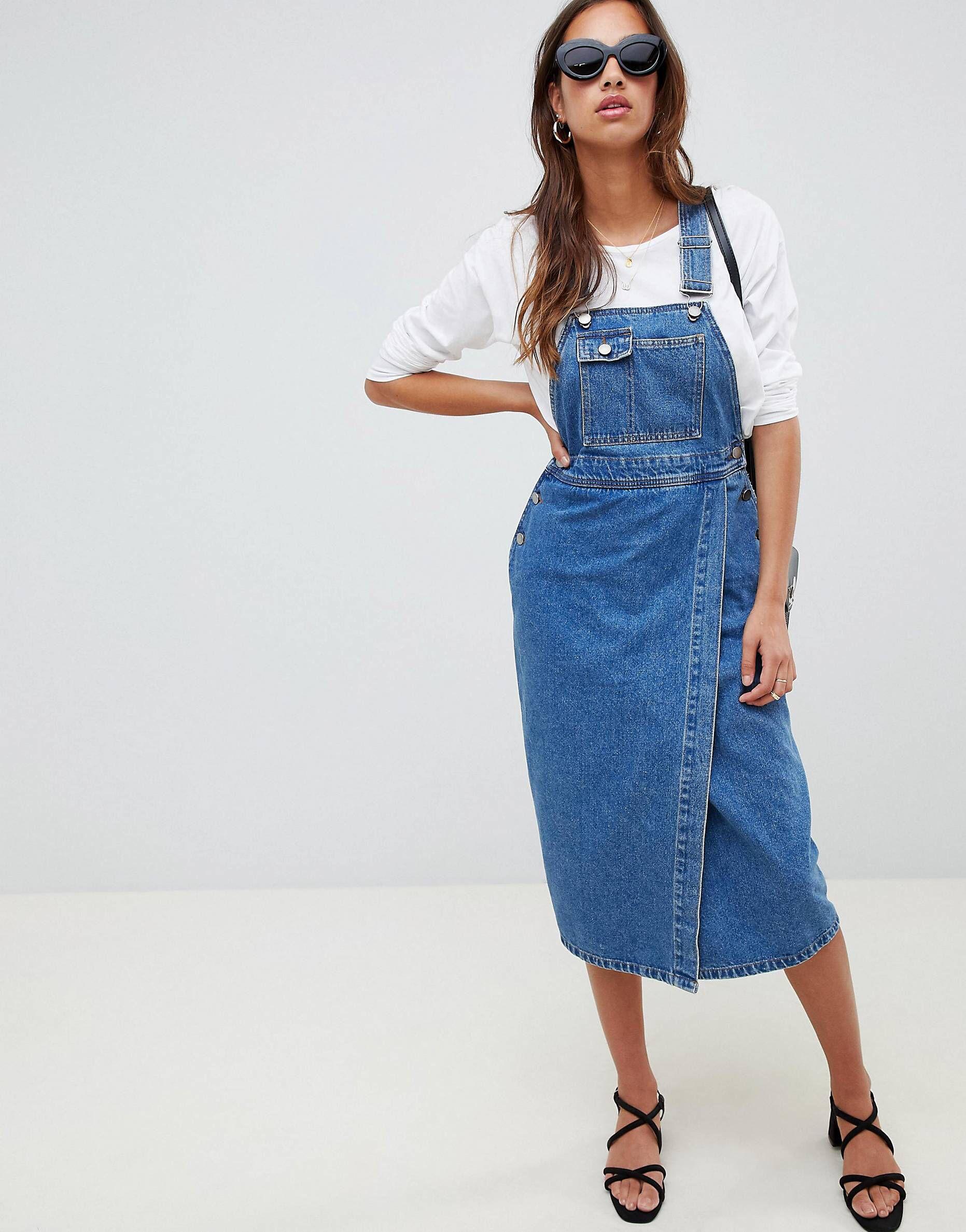 2db55e9ea02658 DESIGN denim midi overall dress in mid wash blue in 2019