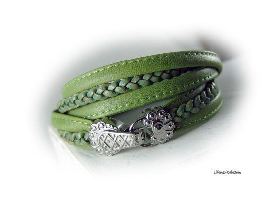 Wickelarmband Lederarmband Damen grün von elfenstuebchen auf Etsy