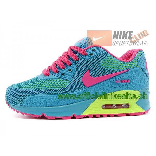 9c82eeb77b71 Nike Air Max 90 Ps Chaussures Nike Pas Cher Pour Enfant Bleu Rose-Boutique